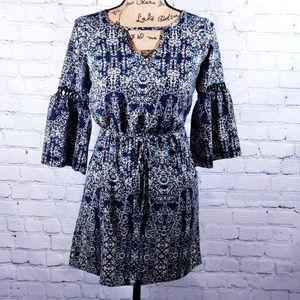 BeBop dark blue floral mini dress flutter sleeves